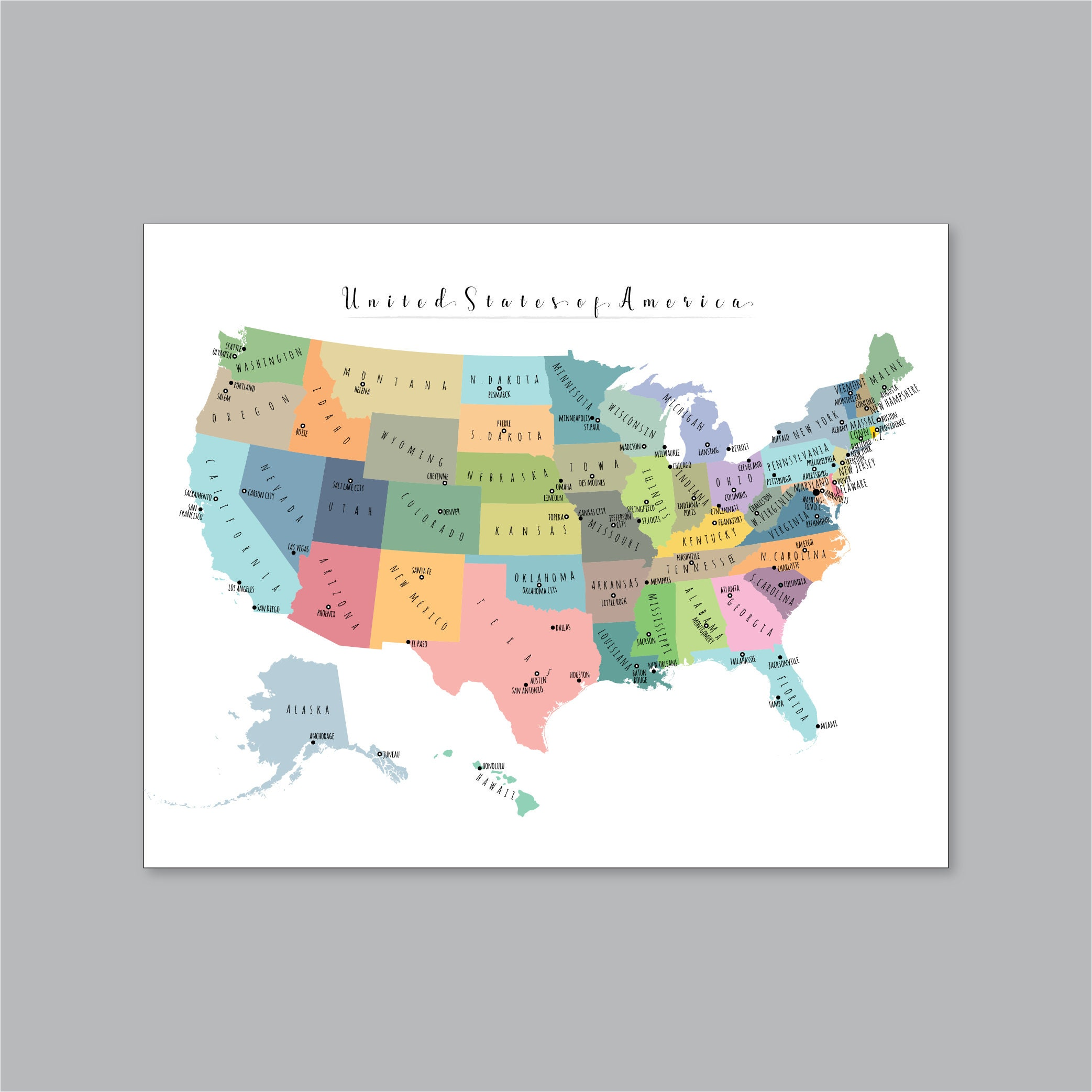Modern Us Map.Usa Map Printable Us Map Large Us Map Map Of United States Etsy