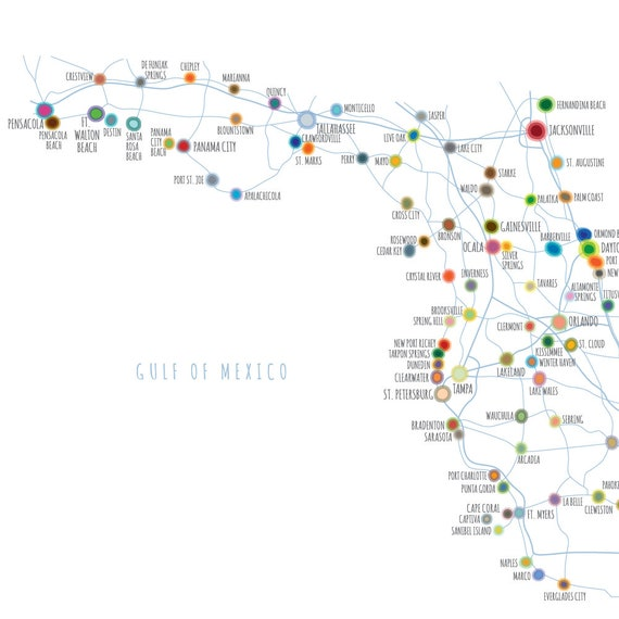 picture about Printable Map of Florida Cities called Map of Florida with primary towns and streets, PRINTABLE Florida Claims Map, Florida Map Wall Artwork, Residence Decor (#P398)