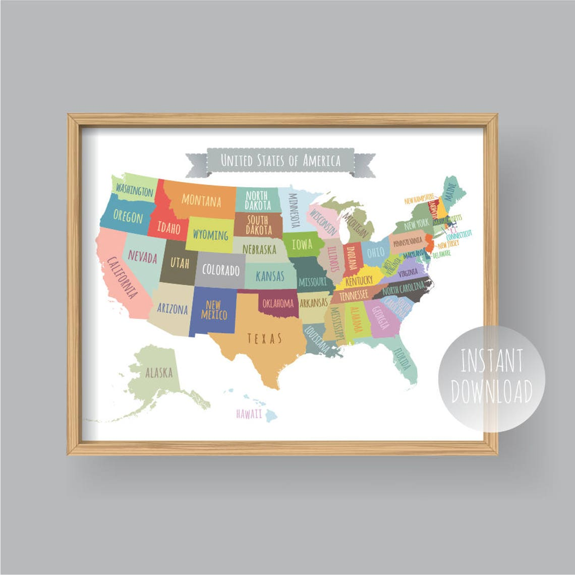 United States Map Wall Decor.United States Map Wall Art Printable United States Map Print Etsy