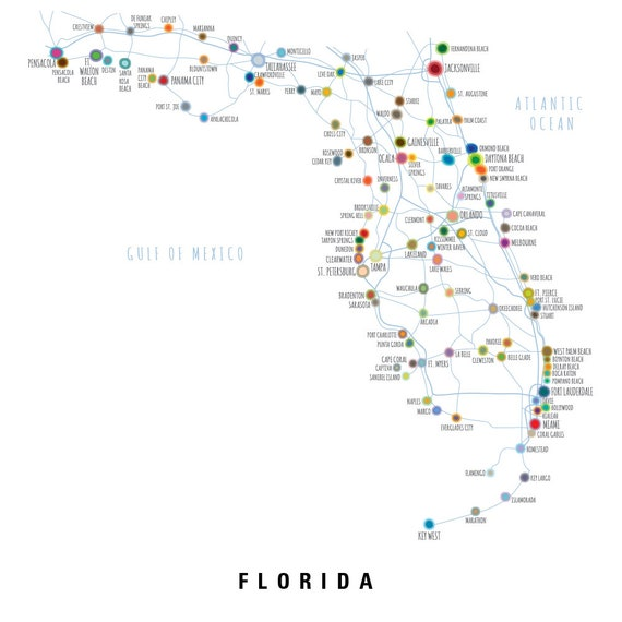 image relating to Printable Map of Florida identify Map of Florida with biggest metropolitan areas and streets, PRINTABLE Florida Says Map, Florida Map Wall Artwork, Household Decor (#P398)