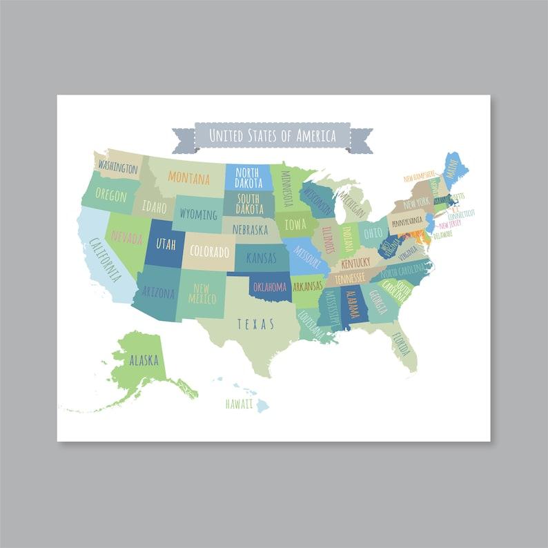 United States Map Wall Art, PRINTABLE United States Map Print, Usa Map Wall  Art, USA Map for Kids, Home Kids Room Decor (#P419)