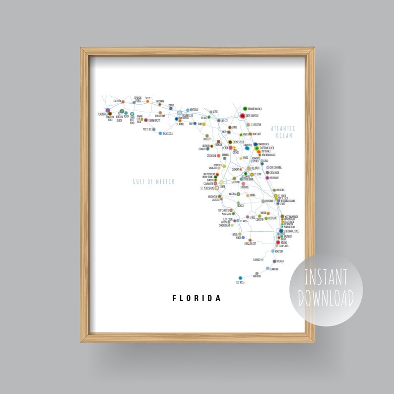 photograph about Printable Map of Florida Cities named Map of Florida with principal metropolitan areas and roadways, PRINTABLE Florida Suggests Map, Florida Map Wall Artwork, Residence Decor (#P398)