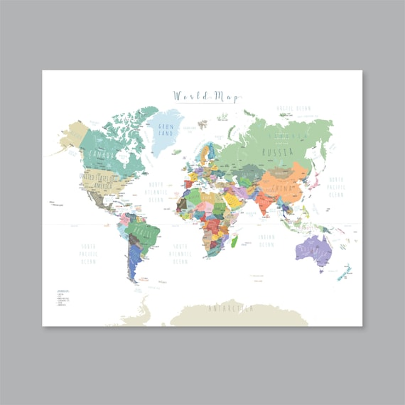 graphic relating to Printable World Map With Countries known as Environment map Poster, PRINTABLE World-wide map with international locations, Map of the World wide wall artwork Youngster nursery Innovative dwelling decor (#P397)