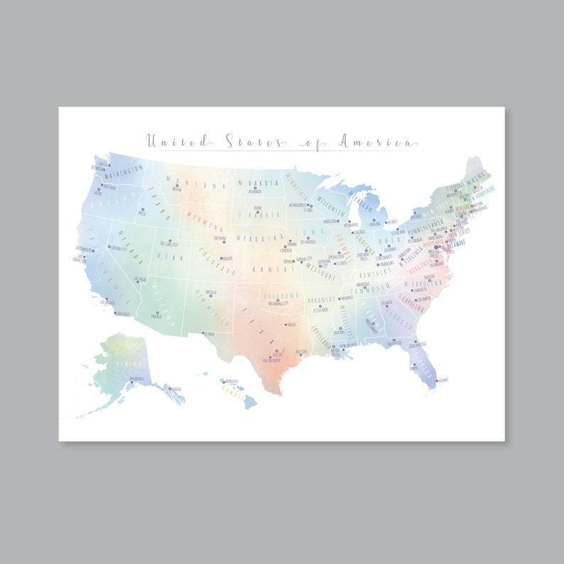 United States Map Wall Art, PRINTABLE United States Map Print, Usa Map Wall  Art Watercolor, USA Map for Kids, Home Kids Room Decor (#P441)