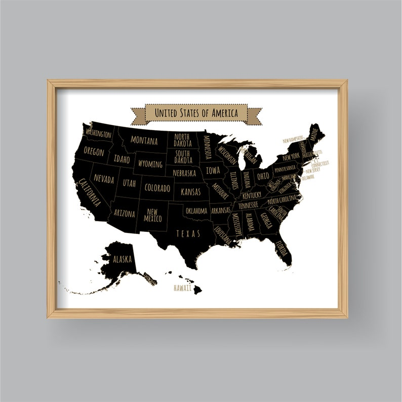 United States Map Wall Art Printable United States Map Print Etsy