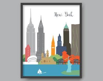 New York Wall Art, Printable New York Skyline, New York Poster, Kid Nursery Modern Home Decor (#P332)
