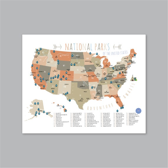 US National Park Map, PRINTABLE Adventure Awaits US National Park Map Kid  nursery Modern home decor (#P394)