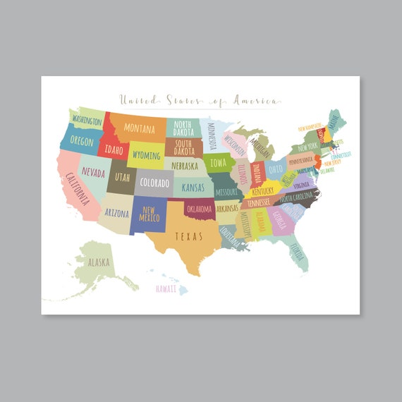 United States Map Wall Art, PRINTABLE United States Map Print, Usa Map Wall  Art, USA Map for Kids, Home Kids Room Decor (#P392)