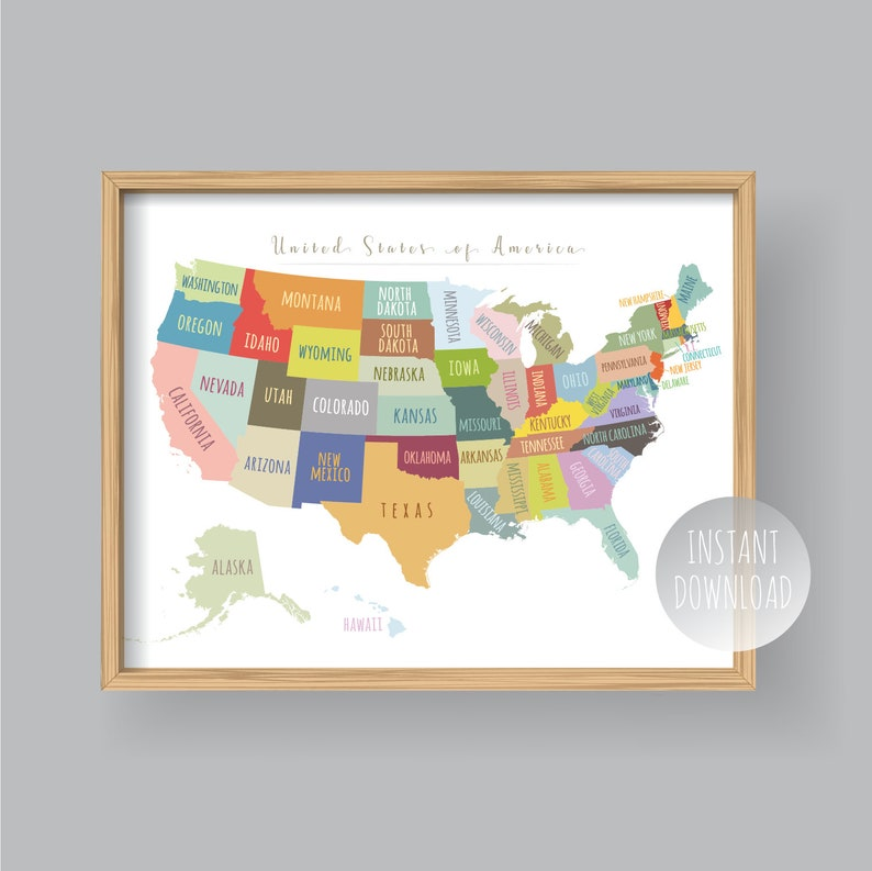 United States Map Wall Art PRINTABLE United States Map Print | Etsy
