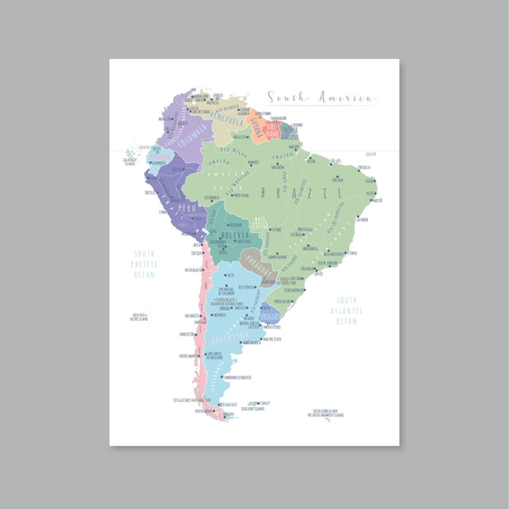 South America Map Wall Art Printable South America Map Print Etsy