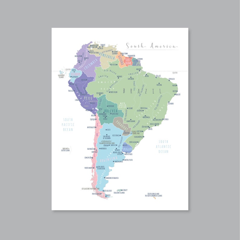 graphic about Printable South America Map called South The usa Map Wall Artwork, PRINTABLE South The united states Map Print, South The united states Map for Children, House Little ones Space Decor (#P443)