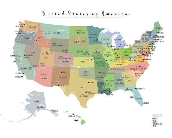 USA State Map, PRINTABLE USA Map, Large us map, United States of America  Map, Kid nursery Modern home decor (#P357)
