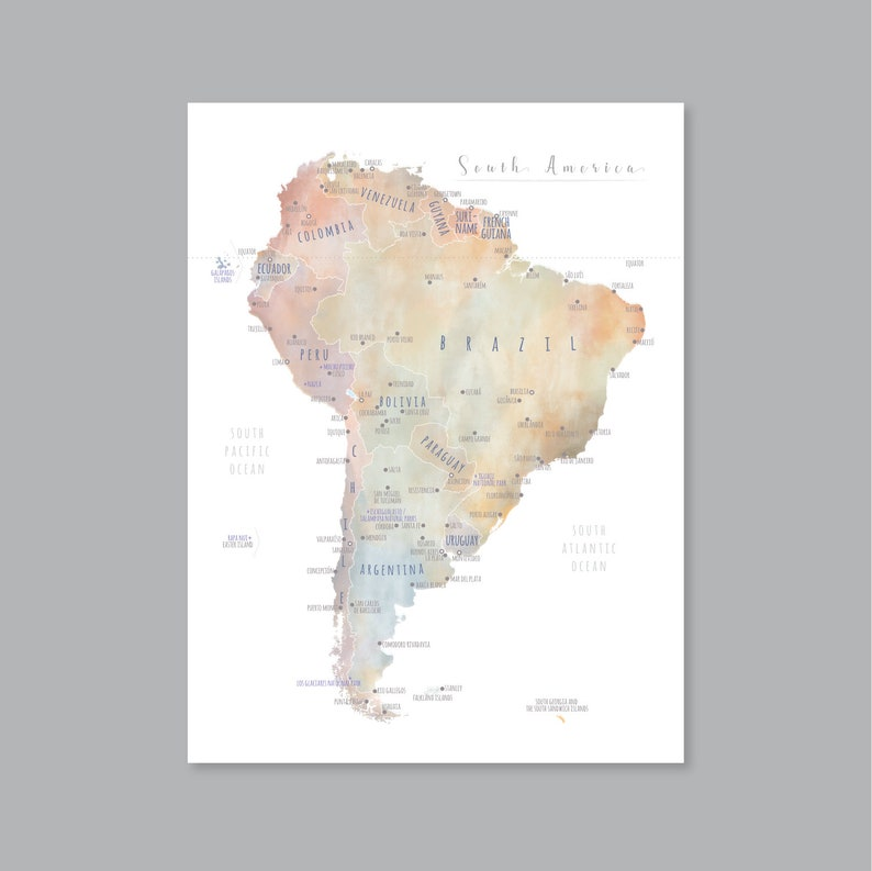 graphic relating to Printable South American Map identify South The us Map Wall Artwork, PRINTABLE South The us Map Print, Watercolor South The usa Map for Little ones, Residence Young children Space Decor (#P444)