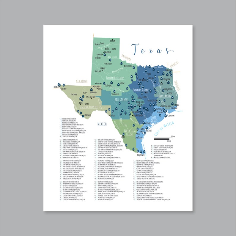 Map Of Texas State Parks.Texas State Parks Map Printable Map Of The State Parks In Etsy