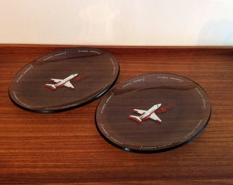 Atlantic Aviation Glass Airplane Meal Plates, Set of 2, Vintage