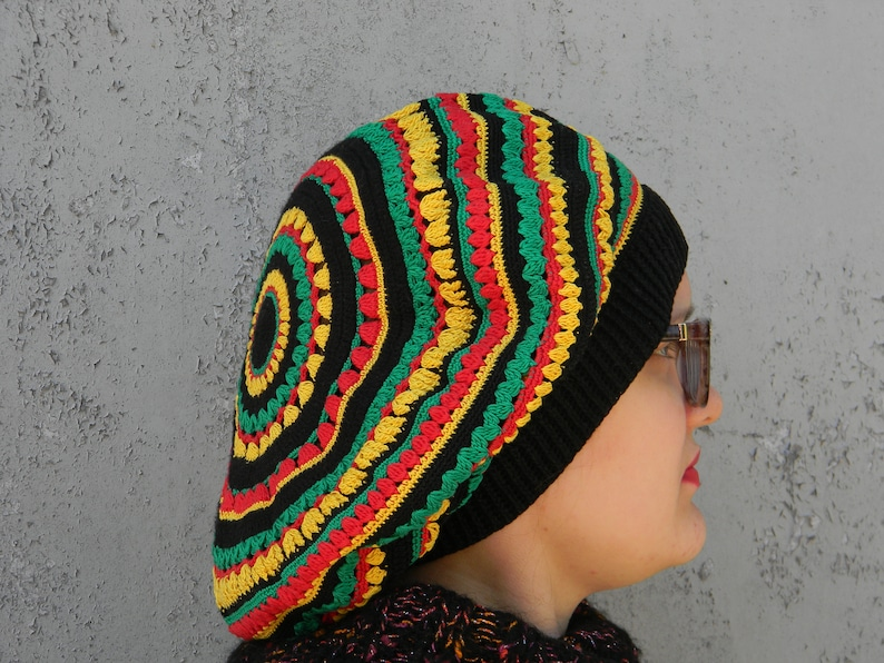 d5e07a0b59bbf Unisex Rasta tam Jamaican Slouchy Hat Hippie hat Festival | Etsy