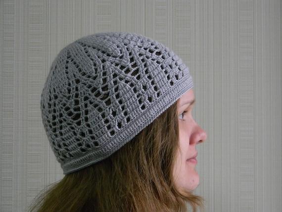Crochet Skull Cap For Women Crochet Seasonal Hat Gray Wool Etsy