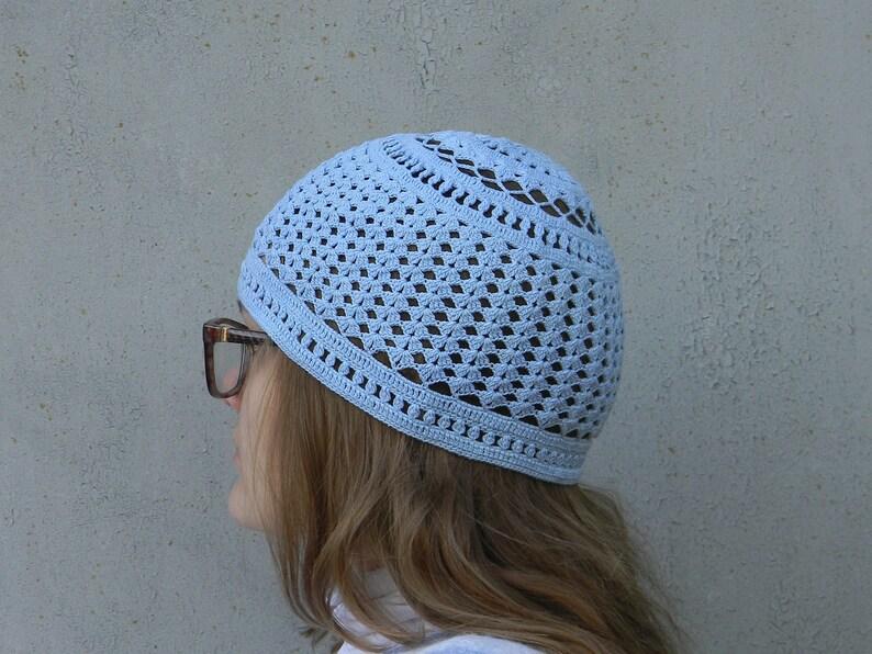 Skull Cap For Woman Powder Blue Summer Hat Crochet Skull Hat Etsy