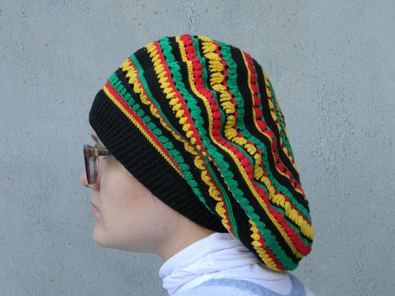 de99cccecda Oversized beret Jamaican Slouchy Hat Rasta tam Crochet cotton