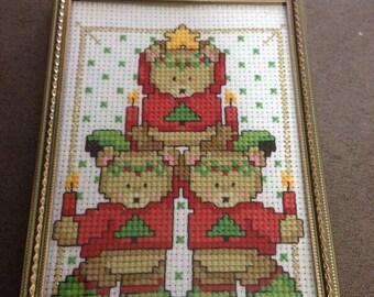 3.5x5 Finished Christmas Teddy Bear Cross Stitch