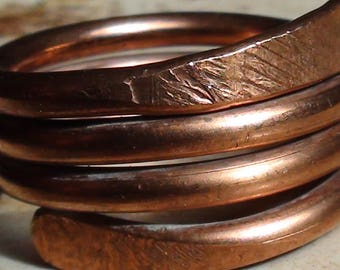 Triple Spiral Flared Copper Rings