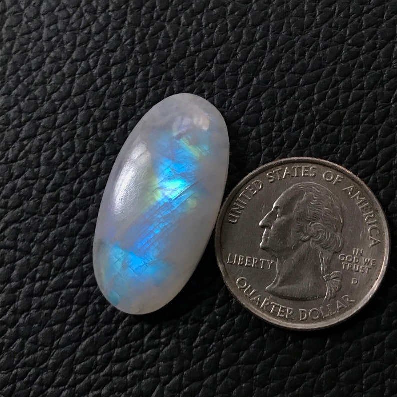 AAA Quality Rainbow Moonstone Cabochon Natural Oval Shape Rainbow Moonstone Loose Gemstone Wire Wrap Pendant Supply Size 32*16*7mm 30Cts