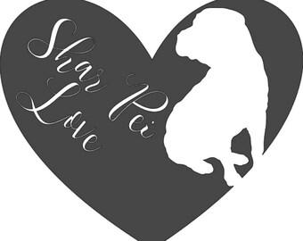 Shar Pei Love Decal