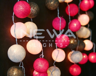 35 Pink Gray Mixing Cotton Ball Fairy Lights String Lights Garland Christmas Lights Bedroom Nursery Baby Kids Patio Party Wall Home Decor