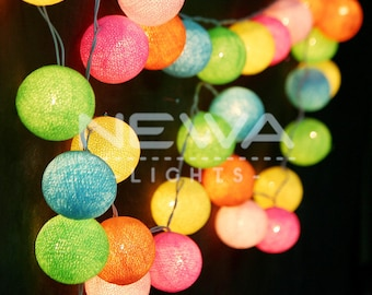 35 Colorful Pastel Cotton Ball Fairy Lights String Lights Garland Christmas Lights Gifts Bedroom Nursery baby kids room Wall Home Decor
