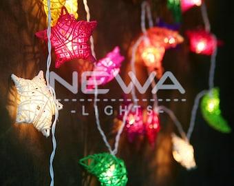 20 Colorful Rattan Moon Star Fairy Lights String Lights Garland Christmas  Lights Gifts Bedroom Nursery Baby