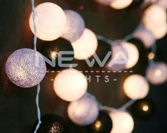 35 Goth Black Gray White Cotton Ball Fairy Lights String Lights Garland Christmas Lights Bedroom Nursery Baby Kids Party Wall Home Decor