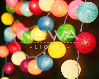 35 Cololrful Rainbow Cotton Ball Fairy Lights String Lights Garland Christmas Lights Bedroom Nursery Baby Kids Patio Party Wall Home Decor