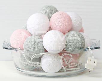 20 Pastel Pink Gray White Cotton Ball Fairy Lights String Lights Christmas Lights Garland Lights Gifts Bedroom Nursery Baby Kids Home Decor