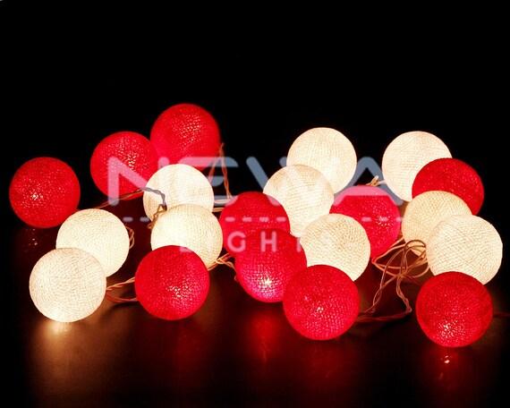 Red And White Christmas Lights.20 Christmas Lights Red White Cotton Ball Lights Fairy Lights String Lights Garland Bedroom Lights Nursery Lights Kids Party Wall Home Decor