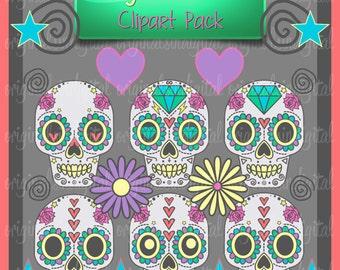 80 OFF SALE Sugar Skulls Clipart Hearts Flowers Stars Commercial Use Vector Graphics Digital Clip Art Images
