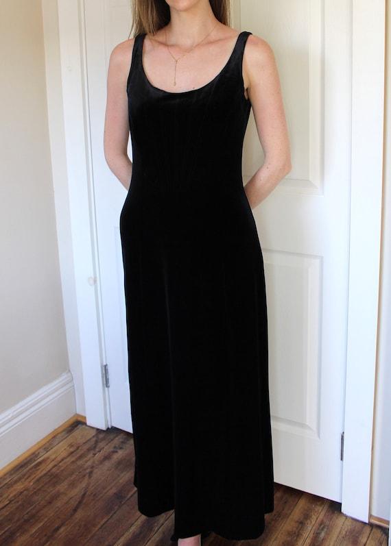 Vintage 90's Laura Ashley Black Velvet Dress   Sl… - image 7