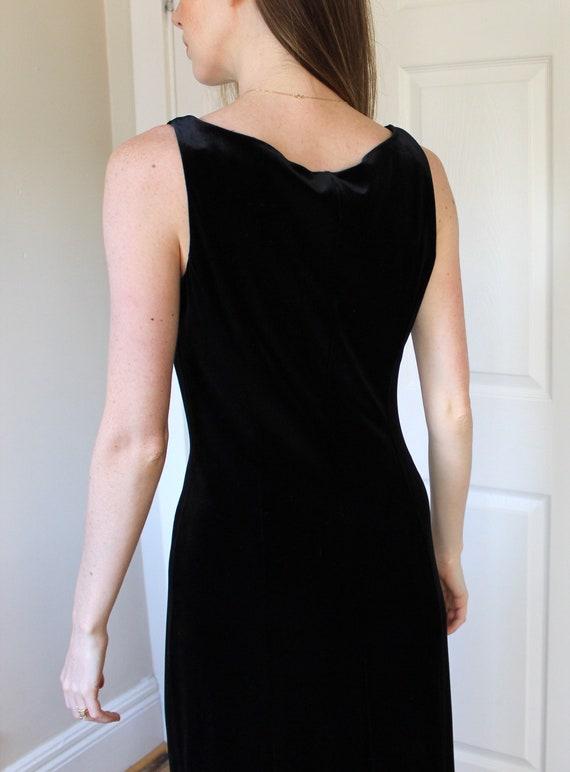 Vintage 90's Laura Ashley Black Velvet Dress   Sl… - image 5