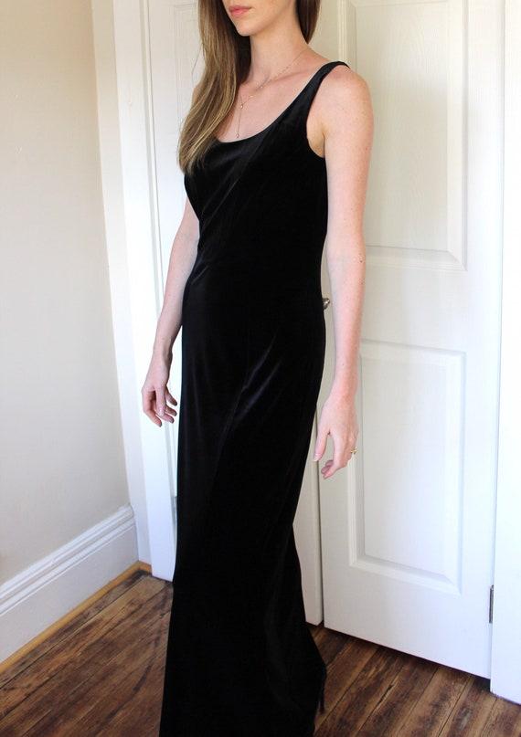 Vintage 90's Laura Ashley Black Velvet Dress   Sl… - image 2