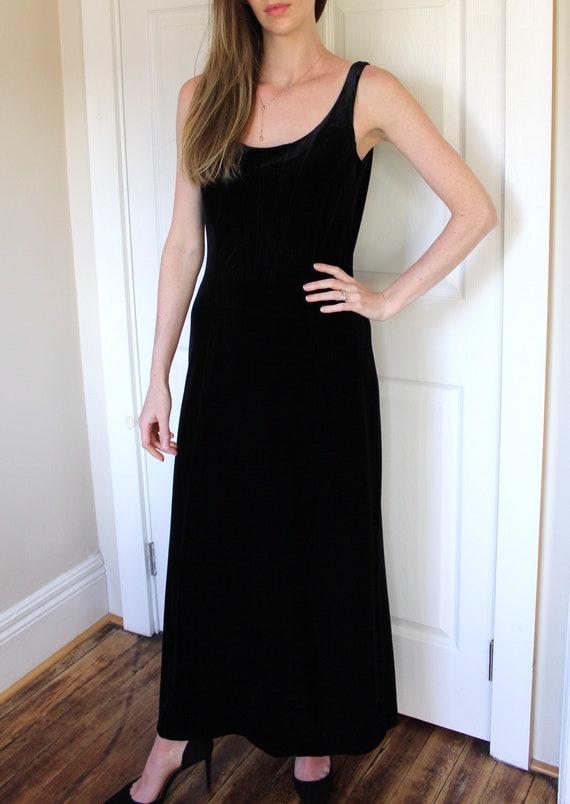 Vintage 90's Laura Ashley Black Velvet Dress   Sl… - image 4