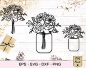 Mason jar SVG with flower bouquet svg, Floral bouquet svg with peony and daisy. Flowers in a vase. Flower jar eps vector and png cut file.