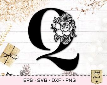 Floral letter Q svg, Flower Q font svg, Floral letters svg, Monogram font svg, Floral alphabet svg, Initial svg, Floral monogram svg