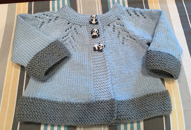 buttoned Light blue baby knitted sweater cardigan gray trim baby clothes baby gift handmade baby shower 3 to 6 months