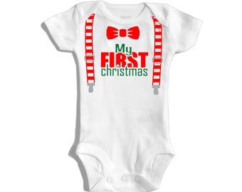0a519df09c7d My first christmas - Baby boys first christmas - Newborn first christmas - Baby  first christmas - Baby boy christmas outfit - Cute baby boy