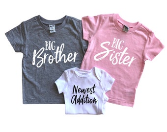 0ae73b050 Big brother and big sister - Sibling shirts - Sibling shirts set of 3 -  Baby announcement 3rd child - third pregnancy announcement