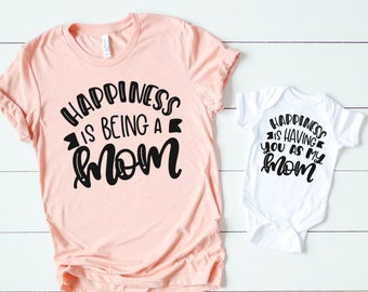 7bcb4c41b Happiness is being a mom - Mama in the making - New mom shirt - Mommy and me  tees - Mother's day matching outfit for mom and kids