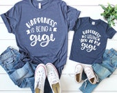 Matching Grandma and granddaughter shirt - Grandson matching - They call me gigi - Happiness is being a gigi - Gigi gifts they love