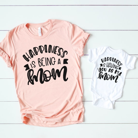 New mom to be shirt Happiness is being a mom Pregnancy announcement shirt Mom graphic tees Shirt for mom Mommy shirt with sayings
