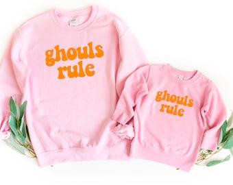 Ghouls Rule Mommy & me sweatshirts   Halloween mommy + me sweaters   Warm Halloween sweaters matching   Matching family sweatshirts