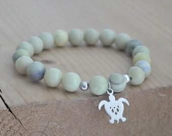 8mm Letting go Truth Aquamarine bracelet meditation bracelet handmade healing bracelet yoga bracelet Grade AA. Trust