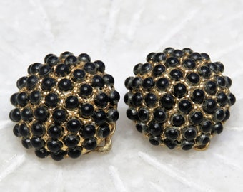 ce73f6d57 Vintage Alice Caviness Clip On Earrings / Gold Tone / Tiny Black Beads /  Designer Signed / Round Circle Dome / Mid Century (E765)